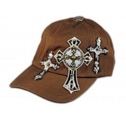 Triple Cross on Brown Ball Cap