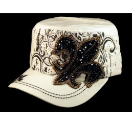 Rhinestone Fleur-de-lis on White Cadet Castro Hat Military Army Cap