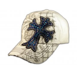 Cross White Ball Cap Vintage Visor Jewel Stitching