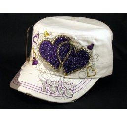 White Cadet Purple Hearts Castro Cap Army Hat Vintage Visor Jewel