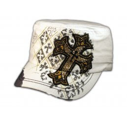 White Cadet Cap Cross Army Hat Vintage Distressed Visor Jewel