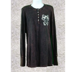 Thermal Print Shirt with Jewels Long Sleeve with Black Velvet Cutout