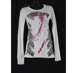 Thermal Print Shirt Jewel Wings Long Sleeve True Love White