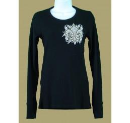 Thermal Print Shirt Jewel Long Sleeve with Fleur-de-lis Wings - Medium