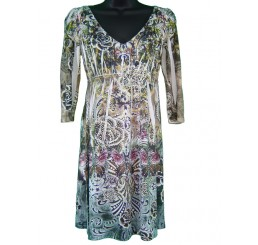 Tunic Dress Lace Back All Over Print and Jewel 3/4 Sleeve - Medium