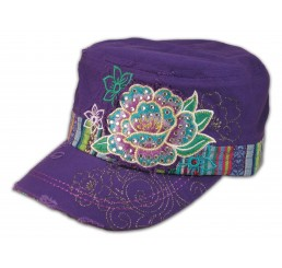 Flowers on Purple Cadet Hat Military Style Cap
