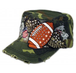 Camouflage Football Cadet Castro Cap Vintage Military Army Hat