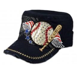 Baseball and Bat on Blue Cadet Cap Vintage Hat Distressed Visor