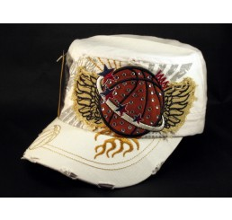 White Basketball Cadet Castro Cap Vintage Military Army Hat Distressed