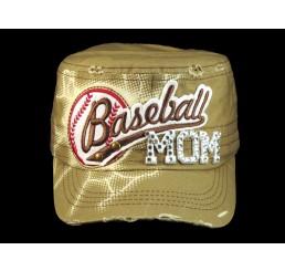 Baseball Mom on Khaki Cadet Cap Military Style Army Hat
