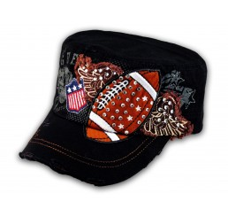 Black Football Cadet Cap Vintage Army Hat Distressed Visor