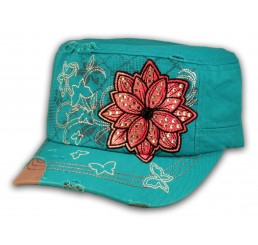Turquoise Cadet Hat with Flower Vintage Army Cap Jewels Distressed