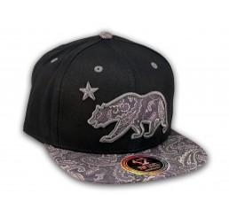 Paisley California Republic Bear Star Black Snapback Hat Flat Bill