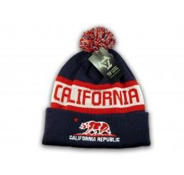Navy California Republic Cali Bear Cuffed Knit Beanie with Pom