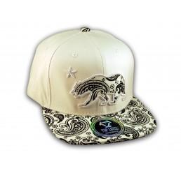 Black Paisley on White California Republic Bear Star Snapback Hat