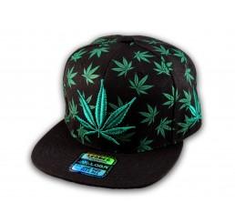 Black with Green Marijuana Pot Leaf Weed Cannabis Flat Bill Snapback