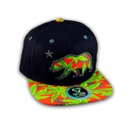 Marijuana California Republic Bear Black Red Baseball Hat Snapback