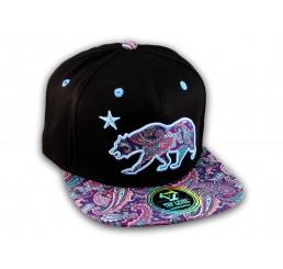 Purple Paisley on Black California Republic Bear Star Snapback Hat