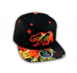 Red Flowers California Republic Bear Black Baseball Hat Snapback Cap