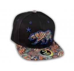 Paisley on Black California Republic Bear Star Snapback Hat