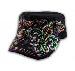 Black Cadet Hat with Fleur-de-lis and Butterflies Military Cap