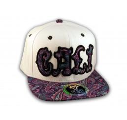 Cali Script White California Republic with Purple Paisley Snapback Hat