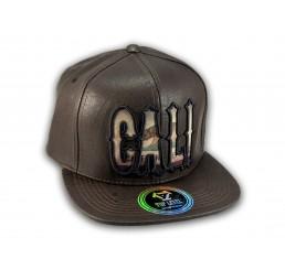 Cali Script Brown Leather California Republic Snapback Hat