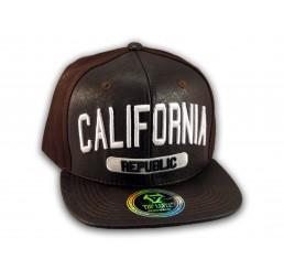 Brown Leather California Republic Snapback Hat