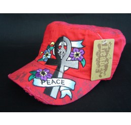 Ankh and Flowers on Red Army Cadet Hat Castro Military Cap