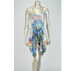 Multicolor Blue Dress Lace Patch Neckline Hanki Hem Rhinestones