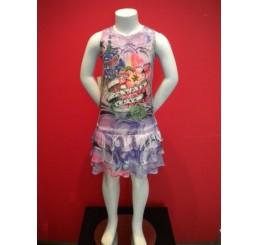 Multi-colored Sleeveless Span Ruffle Dress with Rhinestones