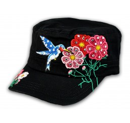 Bird and Flowers Black Cadet Castro Hat Military Army Cap Jewels