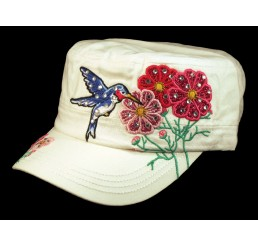 Bird and Flowers White Cadet Castro Hat Military Army Cap Jewels