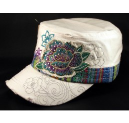 Flowers on White Cadet Hat Vintage Army Cap Jewels Distressed