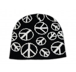 Knitted Black Beanie with White Peace Signs