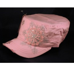 Snowflake on Pink Cadet Cap Military Hat