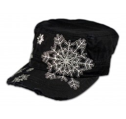 Snowflake on Black Military Hat Cadet Cap