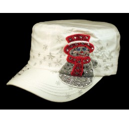 Christmas Snowman White Cadet Castro Hat Military Army Cap Jewels