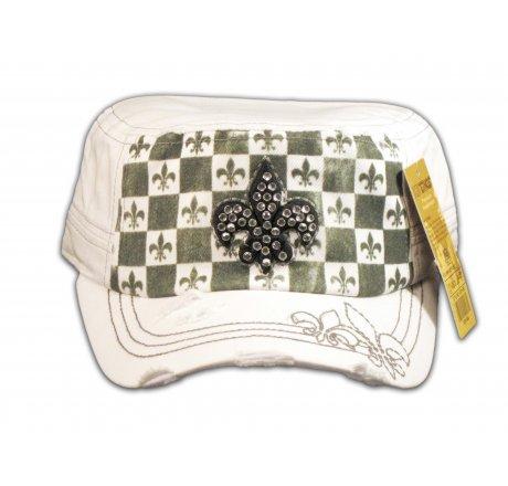 Fleur-de-lis on Checkerboard White Army Cadet Hat