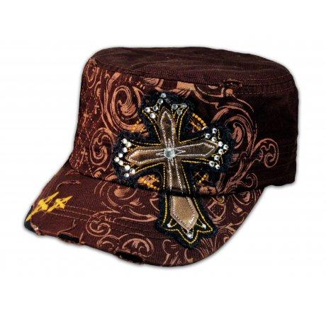 Brown Cross on Brown Cadet Cap Army Hat Vintage Distressed Visor