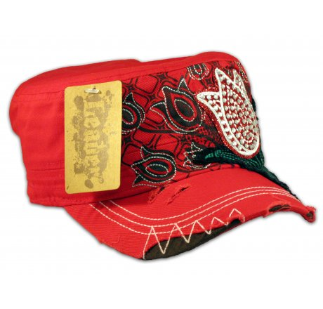 Red Rose Bud on Red Cadet Cap Military Hat Distressed Visor