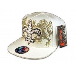 Fleur-de-lis on White Flat Brim Hip Hop Hat Jewels from Pit Bull