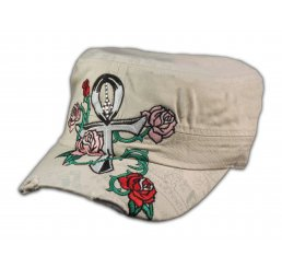 Ankh on Stone Color Cadet Cap Pink Rose Army Hat Military