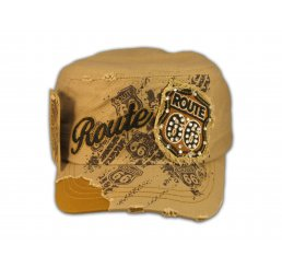 Khaki Route 66 Cadet Castro Cap Vintage Military Army Hat Distressed