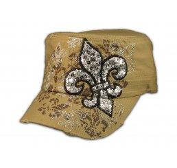 Fleur-de-lis on Khaki Cadet Cap Vintage Army Hat Distressed Visor