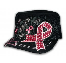 Black with Pink Cancer Ribbon Cadet Cap Distressed Military Army Hat