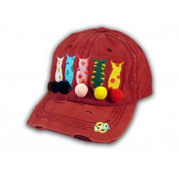 Burgundy Cat Mom Washed and Distressed Baseball Cap