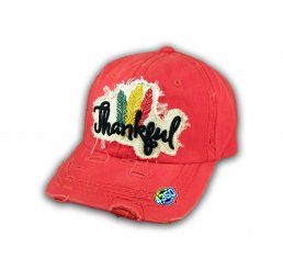 Coral Thankful Washed and Distressed Baseball Cap