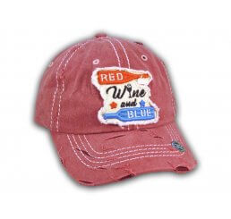 Burgundy Red Wine and Blue Washed and Distressed Baseball Cap