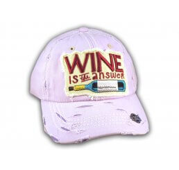 Purple Wine Is The Answer Washed and Distressed Baseball Cap